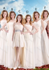 Elegant Empire Champagne Dama Dresses with Hand Made Flowers