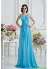 Empire Straps Ruching Baby Blue Floor-length Chiffon Evening Dress