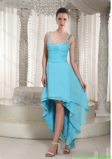 Spaghetti Straps Aqua Blue Chiffon High Low Prom Dress with Beading