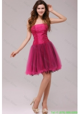 A-line Strapless Beading Organza Fuchsia Homecoming Dress