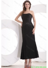 Black Column Strapless Ankle Length Lace Prom Dress with Ruching
