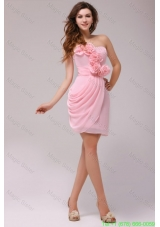 Column Hand Made Flowers Baby Pink Strapless Prom Dress