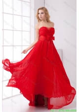 Elegant Strapless Red Empire Pleat Chiffon Homecoming Dress with Bowknot