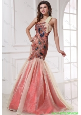 Mermaid One Shoulder Floor Length Prom Dress with Appliques