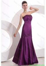 Mermaid Strapless Purple Floor Length Satin Prom Dress with Appliques