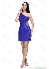 One Shoulder Column Beaded Decorate Mini Length Prom Dress in Blue