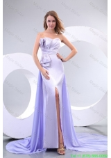 Popula Sweetheart Court Train Elastic Woven Satin Prom Dresses with Beading