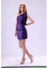 Purple Column One Shoulder Prom Dress with Mini-length