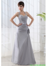 A-line Halter Top Silver Prom Dress with Beading and Ruching