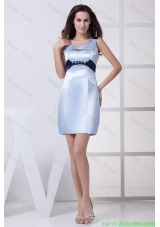 Beaded Light Blue Scoop Prom Dresses with Mini-length and Cutout