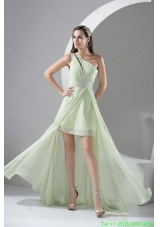 Beaded Single Shoulder High Low Homecoming Dresses in Apple Green