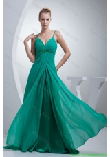 Beading and Ruches Accent Turquoise Prom Dress with Straps