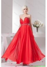 Empire Ankle Length Sweetheart Beaded Ruched Prom Dress in Red
