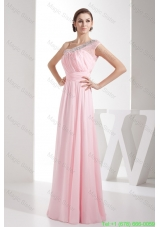 Light Pink Empire Beaded One Shoulder Homecoming Gowns with Ruching