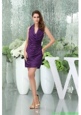 Modernistic Halter Top Purple Prom Dress with Appliques and Ruffle