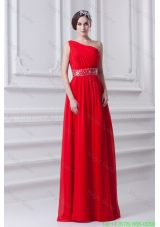 Red Empire One Shoulder Chiffon Prom Dress with Beading and Ruching
