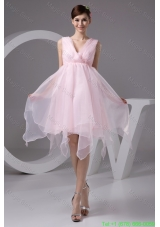 Ruched and Appliqued Pink V-neck Homecoming Evening Dress for Cheap