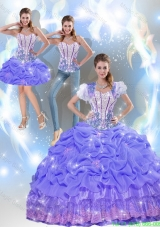 2015 Modest Beaded Quinceanera Dresses with Appliques in Lavender