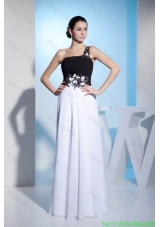 Black and White One Shoulder Appliques Prom Dress with Chiffon