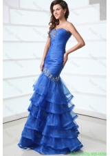 Sexy Blue Mermaid Sweetheart Floor-length Organza 2016 Spring Prom Dress with Beading