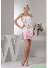 Taffeta White and Baby Pink Ruched Prom Dress with Handmade Flower