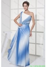 Blue and White One Shoulder Prom Dresses with Beaded Belt