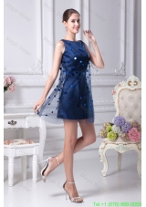 Dark Blue Mini Length Scoop Taffeta Prom Dresses with Sequins