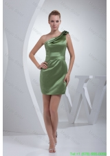Layered One Shoulder Mini Length Prom Gown Dress in Olive Green