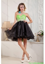 2014 Black and Spring Green A Line Beaded Exquisite Prom Dress