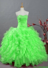 2015 New Style Quinceanera Dresses with Beading and Ruffles