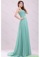 Aqua Blue Empire Straps Beading Green Chiffon Prom Dress with Brush Train