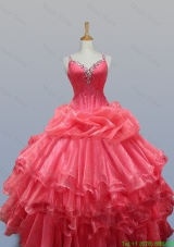 Beading and Ruffled Layers Straps Quinceanera Dresses for 2015