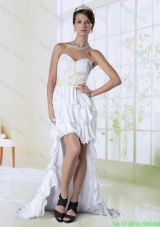 Elegant Column Sweetheart High Low White Beading Prom Dress