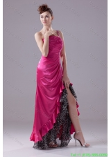 Junior Hot Pink One Shoulder High-low Prom Gowns with Beading and Ruching