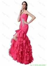 Mermaid Sweetheart Beading Ruffles Coral Red  Prom Dress