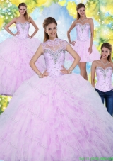 2016 Inexpensive and Detachable Quinceanera Dresses with Beading and Ruffles