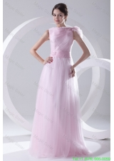 A-line Bateau Sashes Sleeveless Ruching Prom Dress