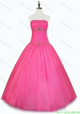 Cheap Strapless Hot Pink Quinceanera Dresses with Beading
