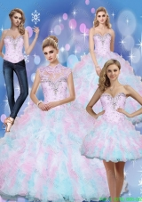 Wonderful Sweetheart Beading and Ruffles 2015 Quinceanera Dresses in Multi Color