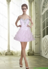2015 Fashionable Sweetheart Beading and Ruffles Baby Pink Prom Dress