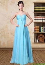2016 Simple Aqua Blue Sweetheart Prom Dress with Beading
