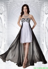 Amazing Sweetheart Black and White Chiffon Empire Prom Dress for 2016