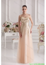 Column Sweetheart Serquins Champagne Floor Length Prom Dress
