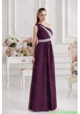 Empire One Shoulder Floor Length Beading Ruching Purple Prom Dress