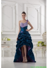 One Shoulder Sweetheart Pick Ups Beading Navy Blue Prom Dress