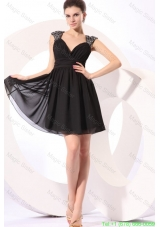 Black Straps Beaded Short Mother of the Bride Dress with Mini Length