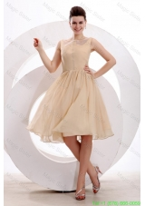 Champagne Bateau Ruching Mother of the Bride Dress with Chiffon