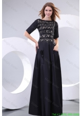 Column Scoop Black Floor Length Lace Mother of the Bride Dress with Half Sleeves