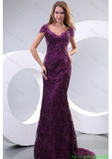 Column V Neck Short Sleeves Appliques Brush Train Mother of the Bride Dress in Purple