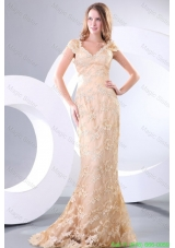 Column V neck Short Sleeves Brush Train Champagne Appliques Prom Dress